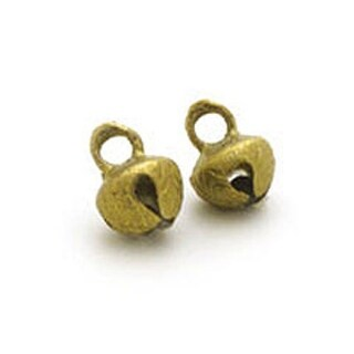 "One Hundred 100 Cross Cut Embossed Antique Brass Finish Bells 0.5"" Half Inches High & 0.75"" High"