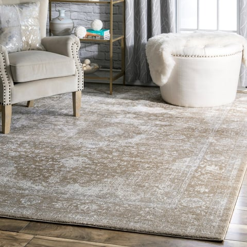 nuLOOM Traditional Brown Vintage Persian Fancy Distressed Medallion Area Rug