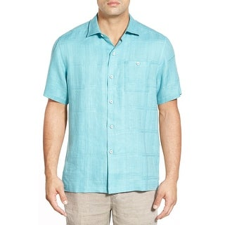 Tommy Bahama San Marino Canal Blue Size Medium Linen Camp Shirt