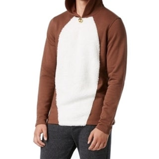 American Rag NEW Brown White Mens Size XL Reindeer Bell Hooded Sweater