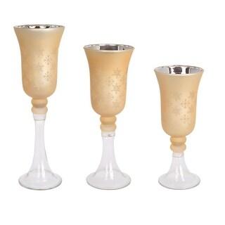 "Set of 3 Decorative and Elegant Snowflake Designed Glass Candle Holder 15"""