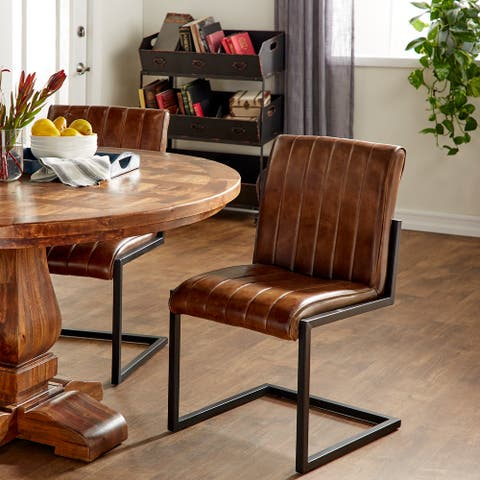 Brown Leather Vintage Dining Chair 35 x 20 x 20 - 20 x 20 x 35