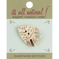 "Handmade Bone Buttons-Angel Fish 1-1/2"" 1/Pkg"