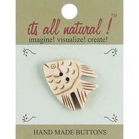 "Handmade Bone Buttons-Angel Fish 1-1/2"" 1/Pkg"