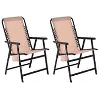 Costway Set Of Two Folding Outdoor Arm Chair Steel Frame W/ Cup Holder Beige