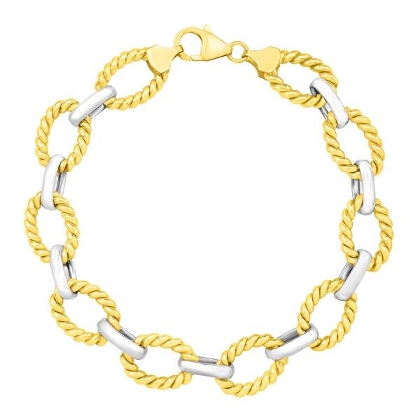 Textured Link Bracelet in 14K Gold-Bonded Sterling Silver