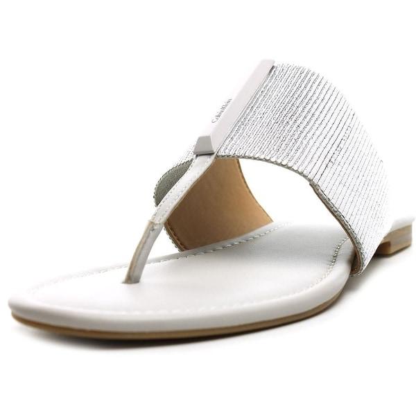 Calvin Klein Bonni Women Open Toe Synthetic Silver Thong Sandal