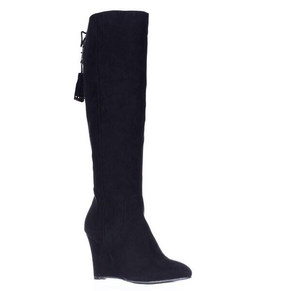 TS35 Adallia Tall Wedge Tassel Tie Fasion Boots, Black