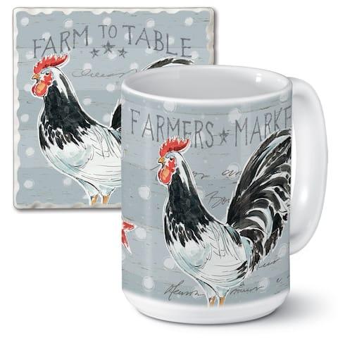 Counterart 15 Oz Ceramic Mug & Absorbent Stone Coaster Gift Set - Rooster Call - 9x6x4.006