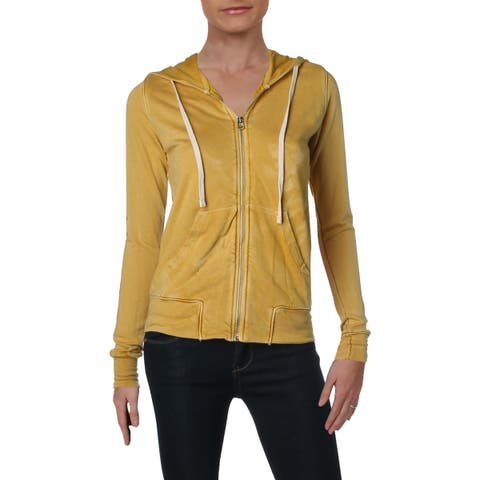 Sundry Womens Let It Shine Hoodie Graphic Front Zip - 0
