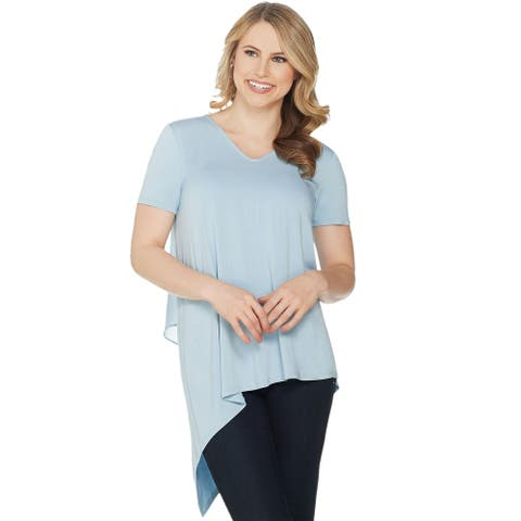 Lisa Rinna Collection Womens Chiffon Back V-Neck Top 1X Plus Chambray A303168