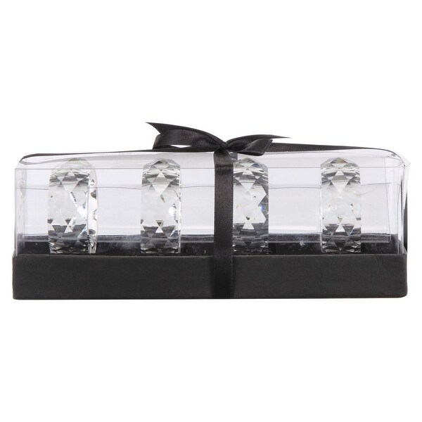 "Set of Four Clear and Black Contemporary Napkin Ring Gift Box 2.25"" - N/A"