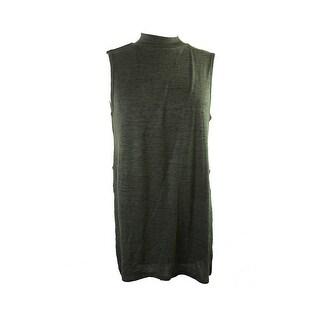 Freshman Juniors Green Heather Sleeveless Side-Slit Mock-Neck Tunic XL