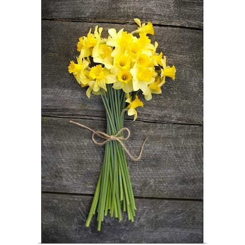 """""""Bunch of daffodils on a wooden table"""" Poster Print"""