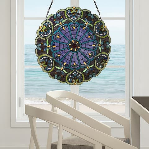"""Stained Glass Webbed Heart 22"""" Window Panel"""
