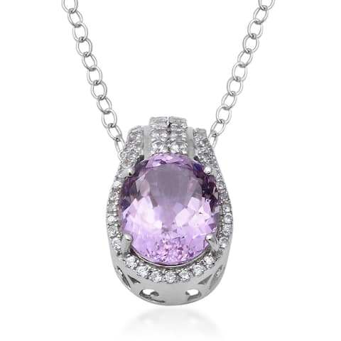 925 Sterling Silver Kunzite White Zircon Necklace Pendant 18'' ct 6.84 - Size 18''