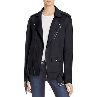 Theory Womens New Divide Basic Coat Zip-Up Belted - S