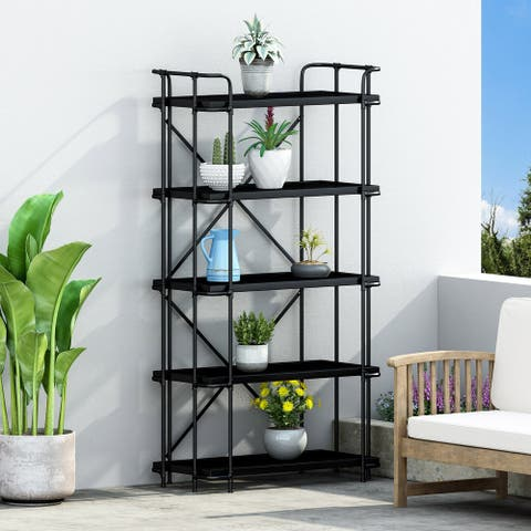 """Blackfoot Outdoor Industrial 5 Shelf Iron Mesh Bookcase by Christopher Knight Home - 36.50"""" W x 17.50"""" D x 66.75"""" H"""