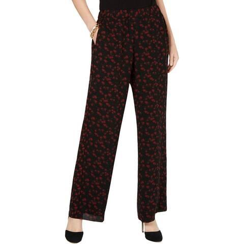 MICHAEL Michael Kors Womens Petites Wide Leg Pants Floral Print High-Rise