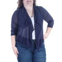 MAISON JULES $69 Womens New 3182 Navy Sheer Draped 3/4 Sleeve Sweater XXL B+B