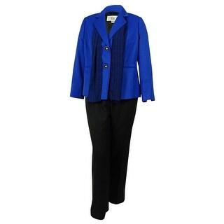 Le Suit Women's Two Button Pant Suit - Lapis/Black - 14W