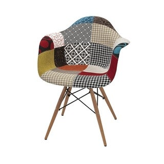 """30.75"""" Salmagundi Multi-Color Linen Patchwork Retro Arm Chair with Beech Wood Legs"""