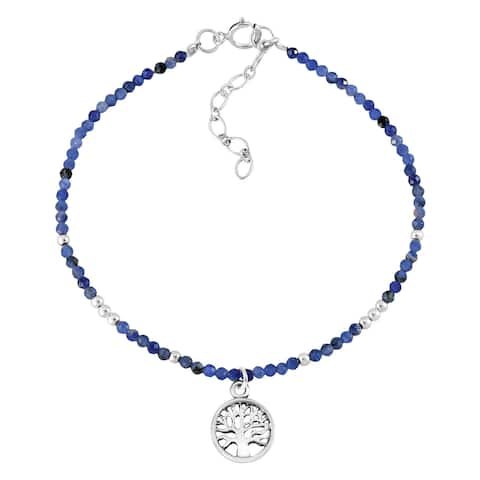 Handmade Mystical Tree of Life Blue Lapis and Sterling Silver Charm Bracelet (Thailand)