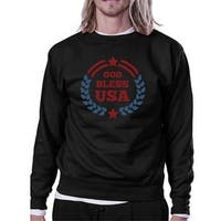 God Bless USA Unisex Graphic Sweatshirt Black Round Neck Pullover