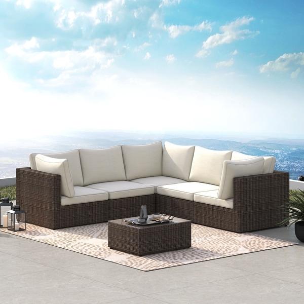 Corvus Tierney Outdoor 6-piece Aluminum Wicker Sectional Sofa Set. Opens flyout.