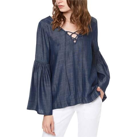 Sanctuary Clothing Womens Lila Knit Blouse, blue, Large