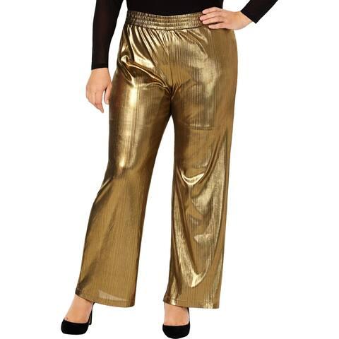 NY Collection Womens Plus Wide Leg Pants Metallic Striped - 3X