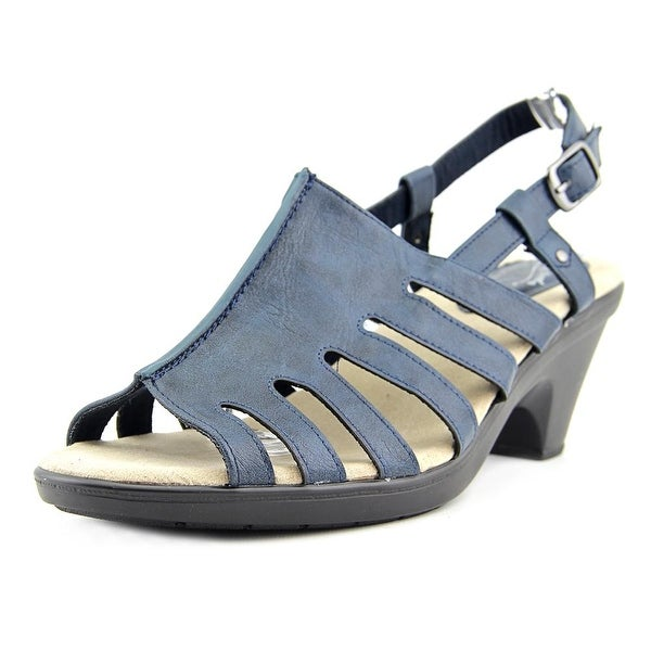 Easy Street Kacia Women WW Open-Toe Leather Blue Slingback Sandal