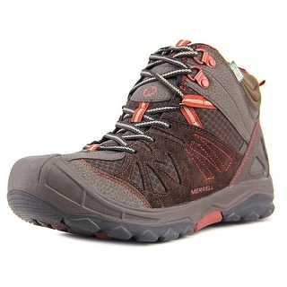 Merrell Capra Mid Waterproof Youth Round Toe Synthetic Brown Hiking Shoe