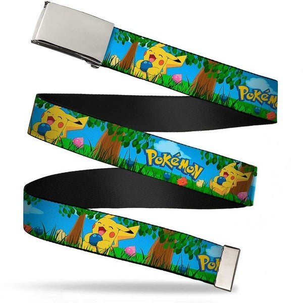 Blank Chrome Buckle Pokemon Pikachu Sitting Under Tree Laughing Web Belt