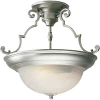 Forte Lighting 2298-02 Semi-Flush Ceiling Fixture from the Close to Ceiling Collection - Brushed nickel