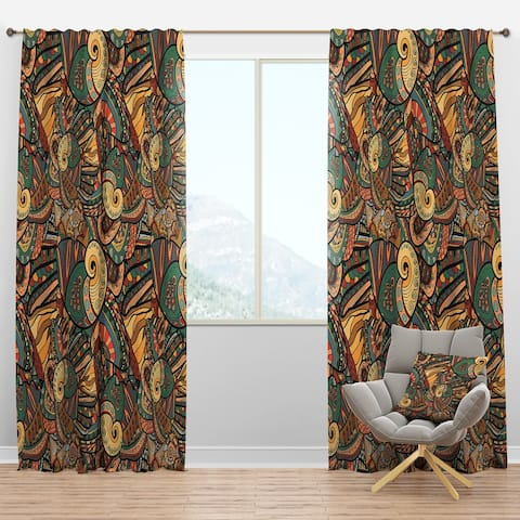 Designart 'Abstract Pattern with Marine Inhabitants' Bohemian & Eclectic Blackout Curtain Panel