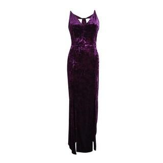 Calvin Klein Women's Crushed Velvet Cutout-Back Gown - Aubergine