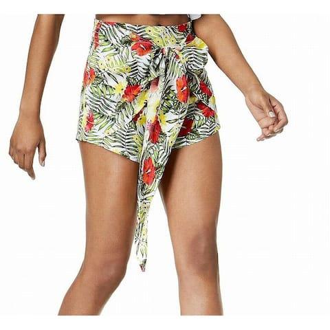 XOXO Women's Green White Size XXL Plus Floral Print Wrapped Shorts