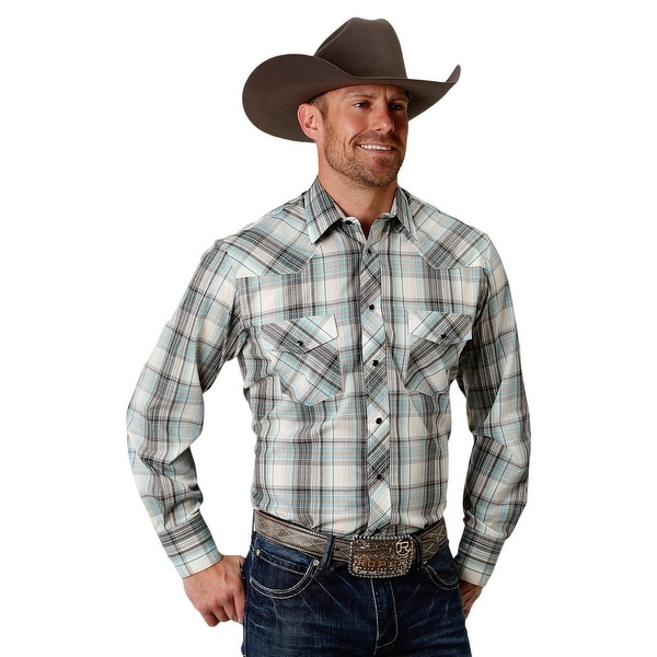 9622c42b Shop Roper Western Shirt Men L/S Plaid Snap Close Teal - Free Shipping On  Orders Over $45 - Overstock - 28050949