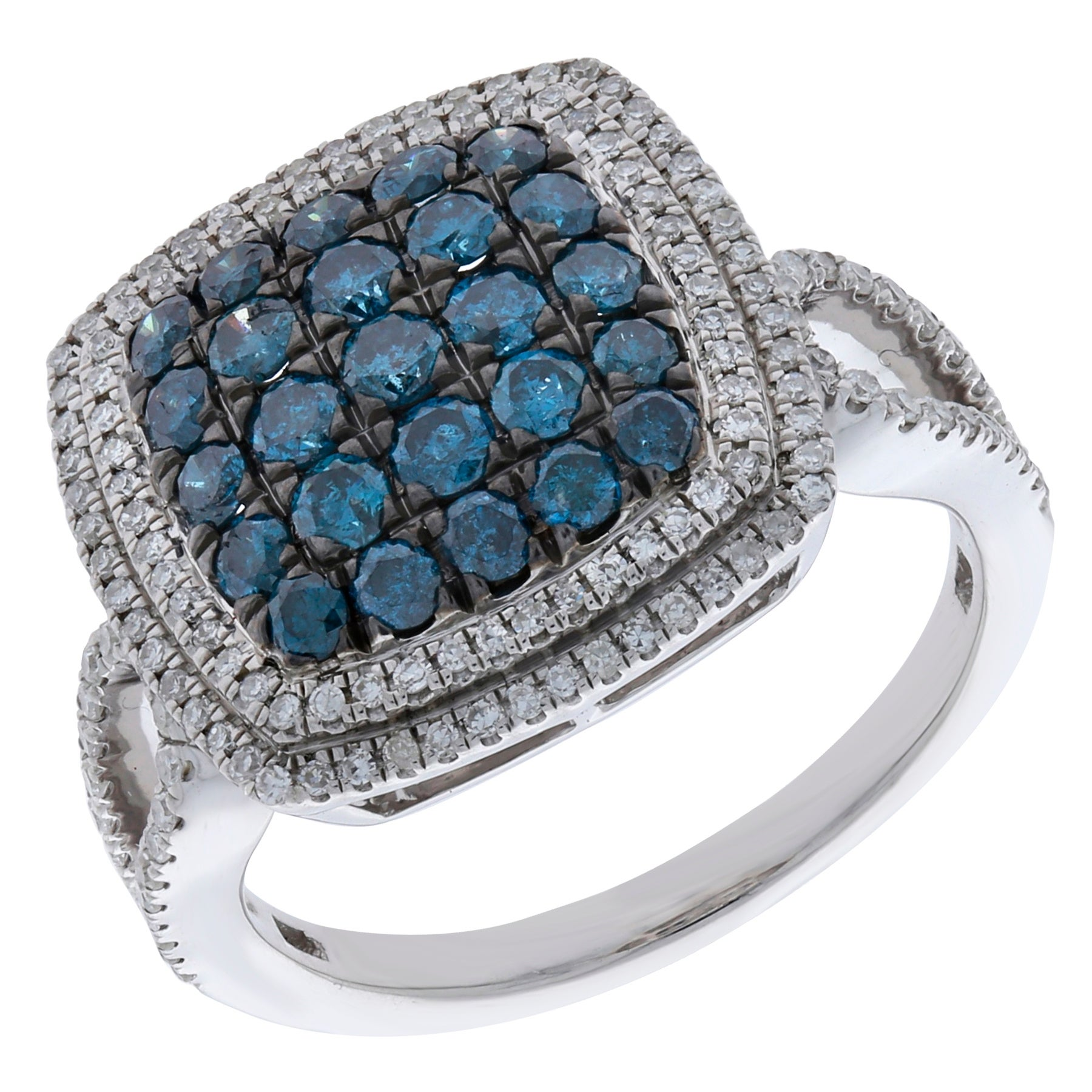 Prism Jewel 1.03 TCW Blue Color Diamond With Diamond Cluster Ring, 925 Sterling Silver - Thumbnail 0
