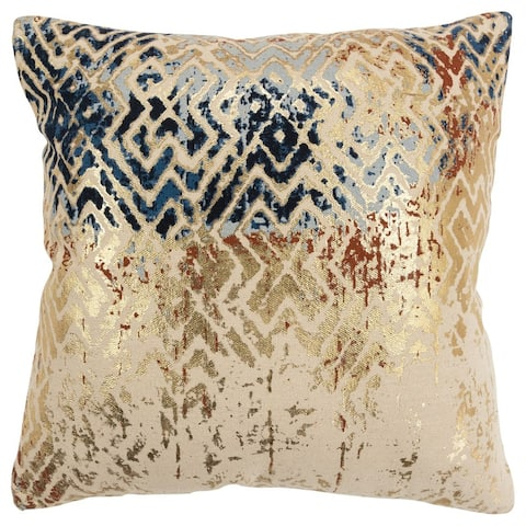 The Curated Nomad Pitai Dark Blue Abstract 20-inch Square Pillow