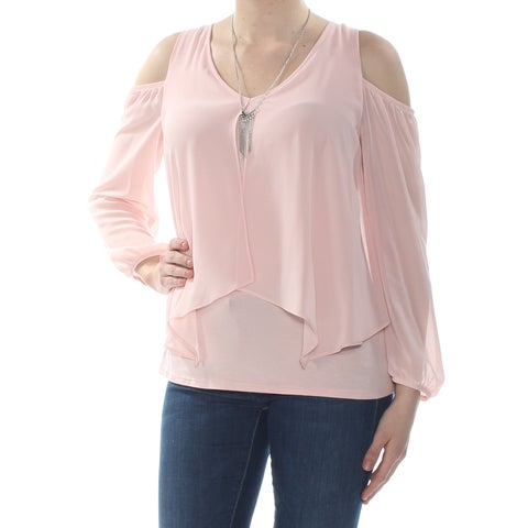 BCX Womens Pink Cold Shoulder Necklace Long Sleeve V Neck Blouse Wear To Work Top Size: M
