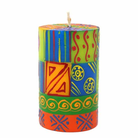 Handmade Pillar Candle with Shahida Design (South Africa)