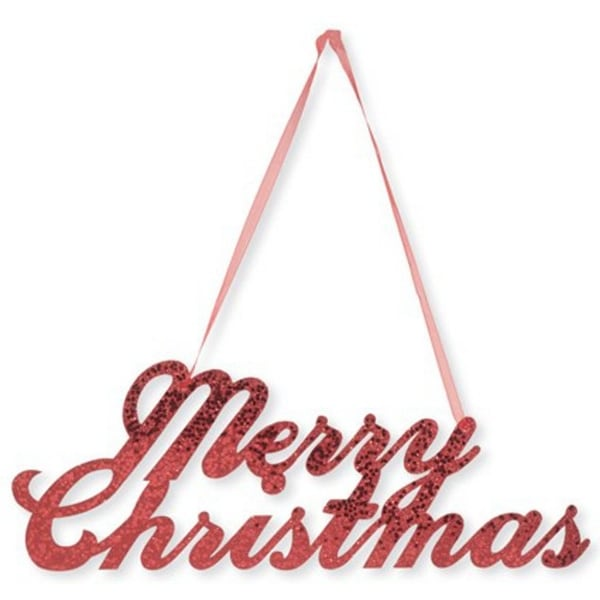 "Pack of 12 Dazzling Red Glittered ""Merry Christmas"" Decorative Hanging Signs"