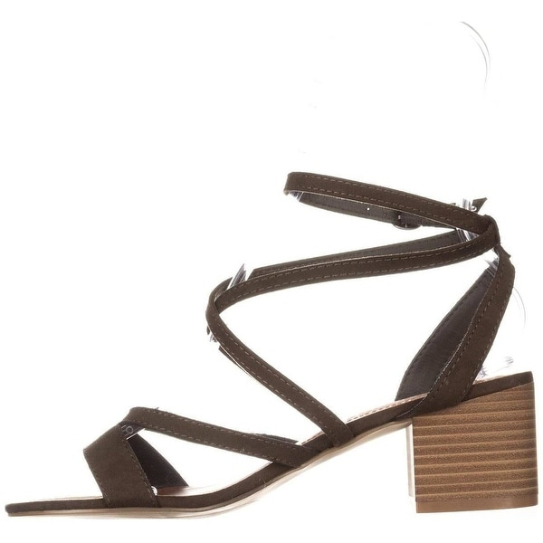 Madden Girl Womens Leexi Fabric Open Toe Casual Strappy, olive fab, Size 6.5