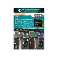 Sylvania V45131-71 8 Function Color Changing  LED Icicle Lights, 6'