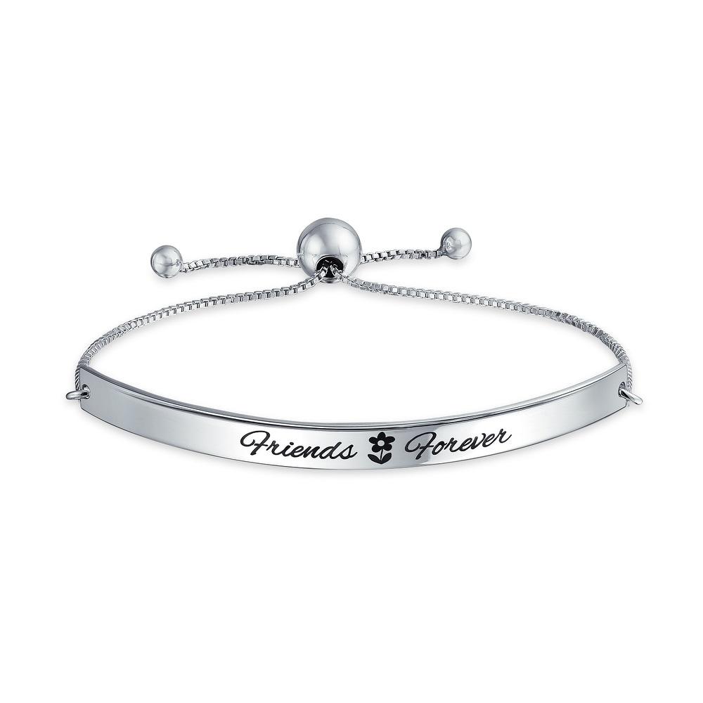 Best Friends Forever Inspirational BFF Mantra Bolo Bracelet For Women Graduation Gift 925 Sterling Silver Adjustable