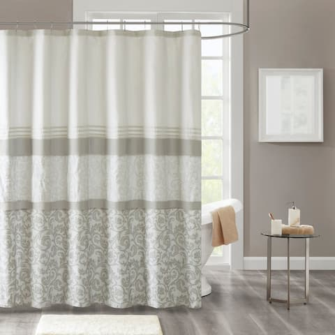 510 Design Lynda Printed and Embroidered Shower Curtain with Liner