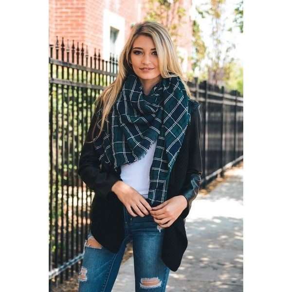 805a11a987458 Shop Green/Navy Plaid Oversized Blanket Scarf - Free Shipping On Orders  Over $45 - Overstock - 23153553