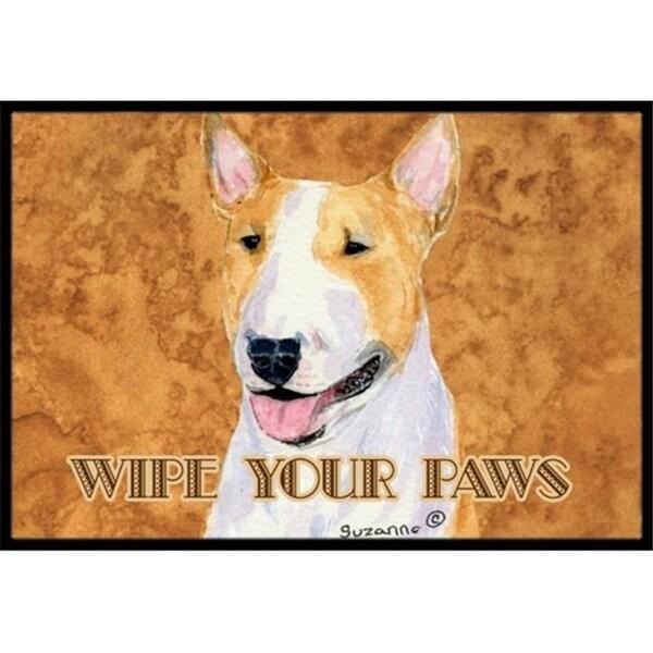 Carolines Treasures SS4890JMAT 24 X 36 In. Bull Terrier Wipe Your Paws Indoor Or Outdoor Mat
